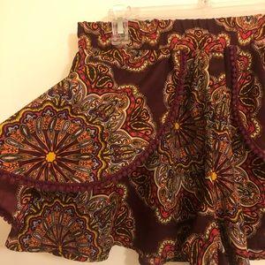 Band of Gypsies Flowy Peplum Paisley Shorts